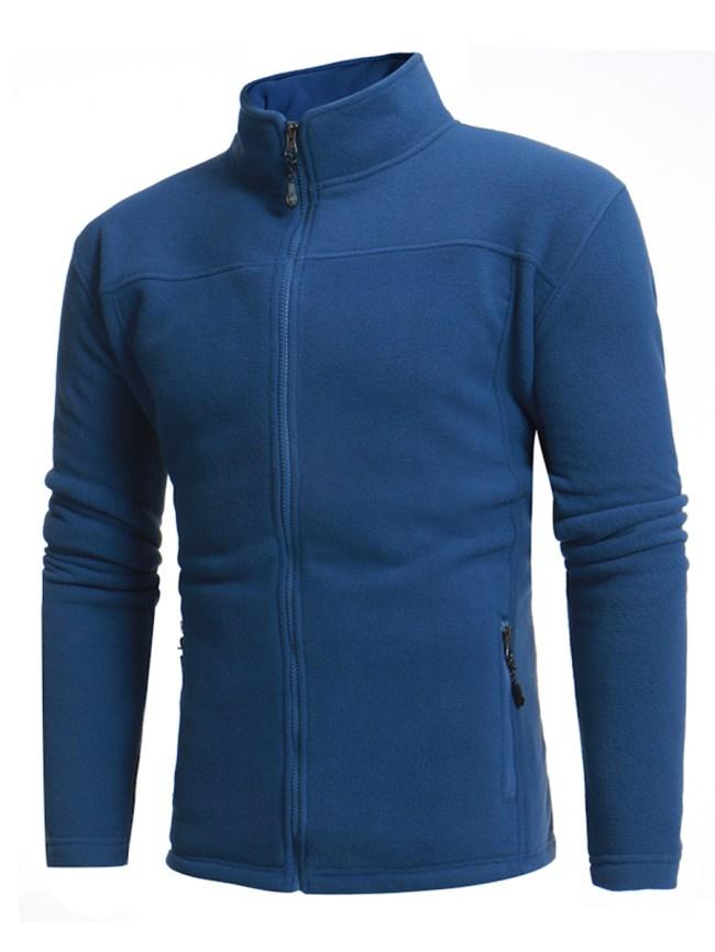 Fashionmia High Neck Pocket Zips Plain Men Coat