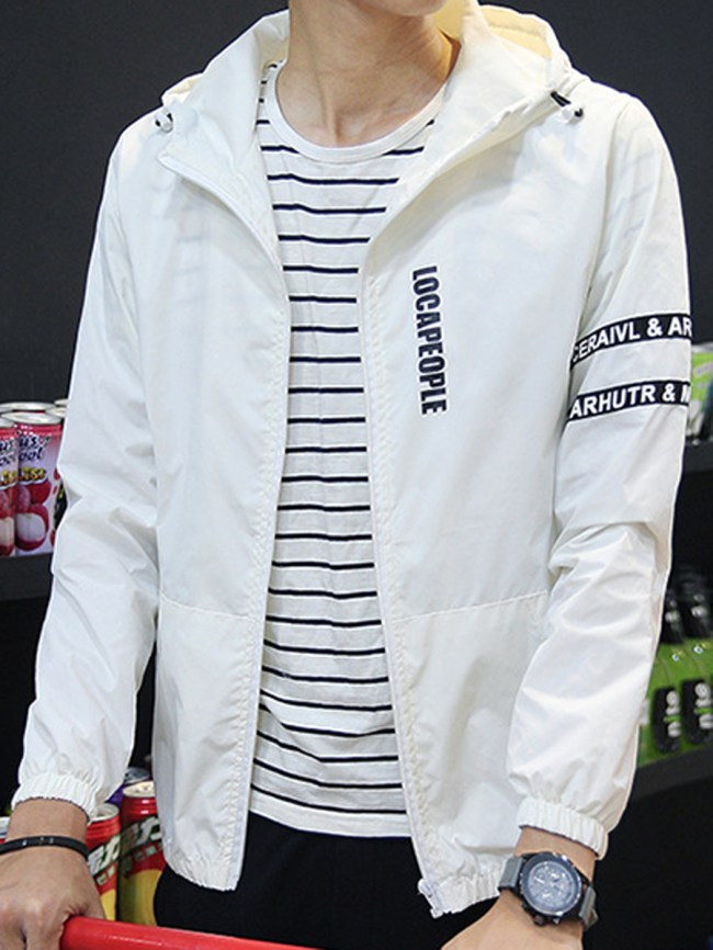 Fashionmia Hooded Patch Pocket Letters Printed Men Jacket