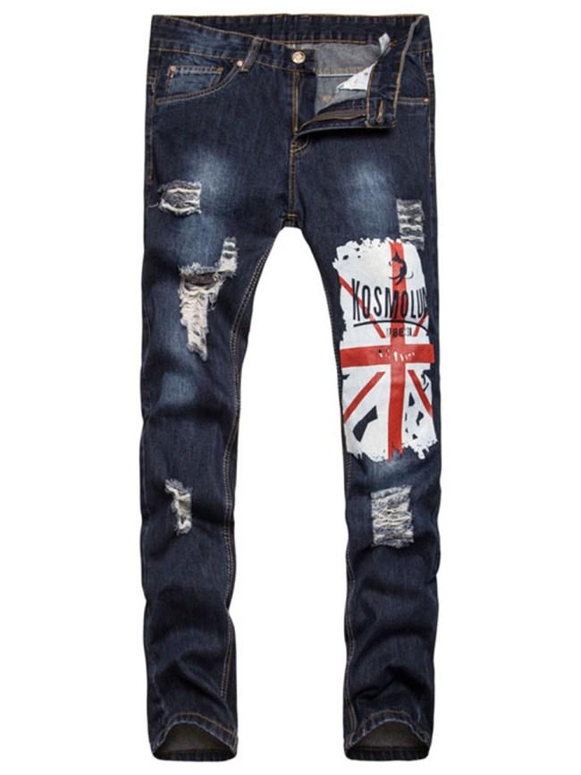 Fashionmia Distressed Light Wash Flag Printed Straight Men's Jeans