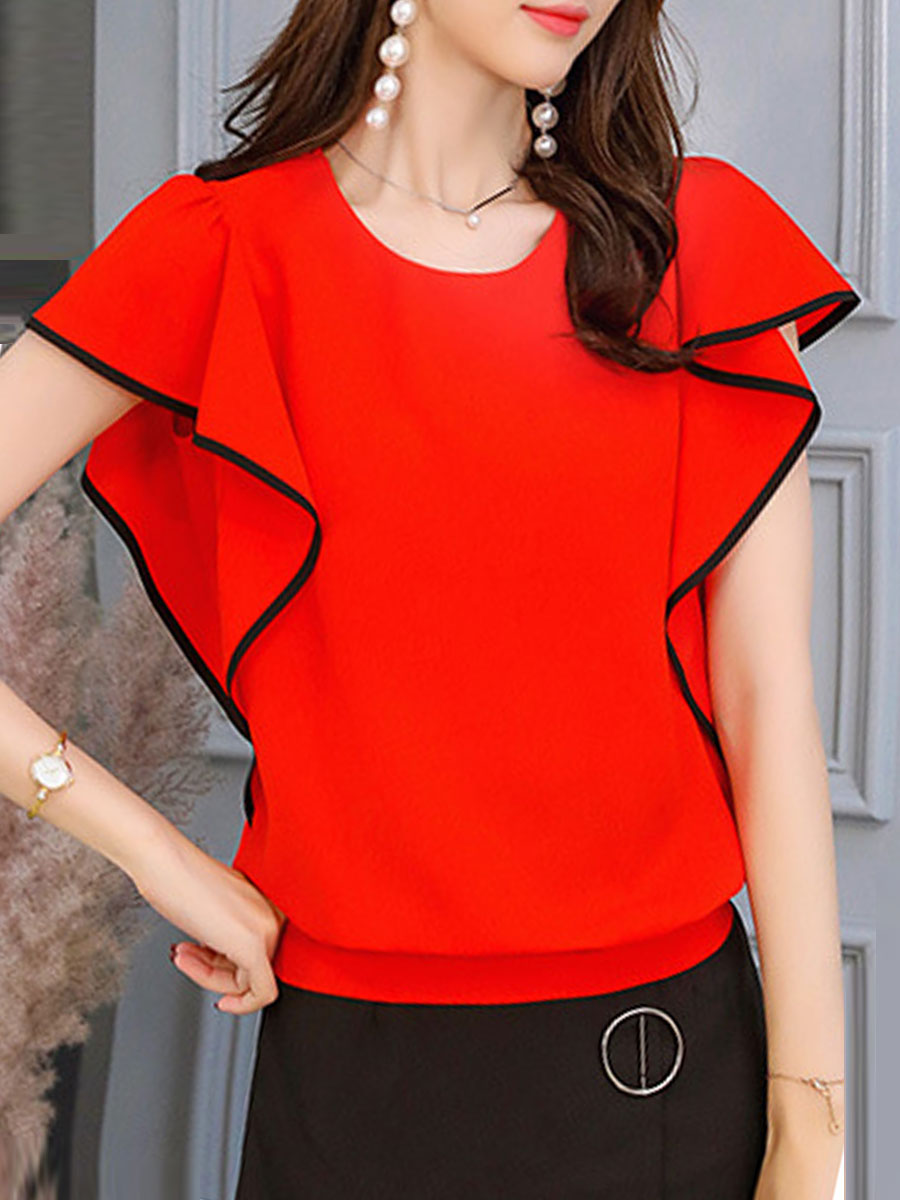 Summer  Polyester  Women  Round Neck  Contrast Piping  Plain  Batwing Sleeve  Short Sleeve Blouses