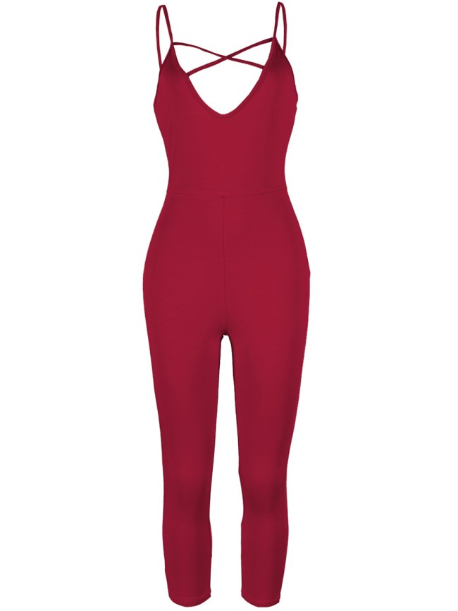 Fashionmia Modern Solid Spaghetti Strap Hollow Out Slim-Leg Jumpsuit