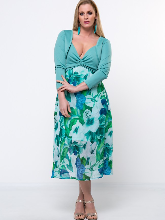 Fashionmia Spaghetti Strap Floral Empire Two-Piece Plus Size Flared Dress