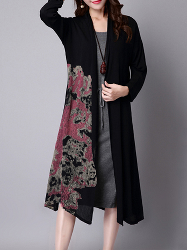Fashionmia Printed Graceful Collarless Trench-Coats