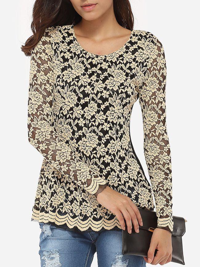 Fashionmia Autumn Spring Lace Women Round Neck Plain Long Sleeve T-Shirts