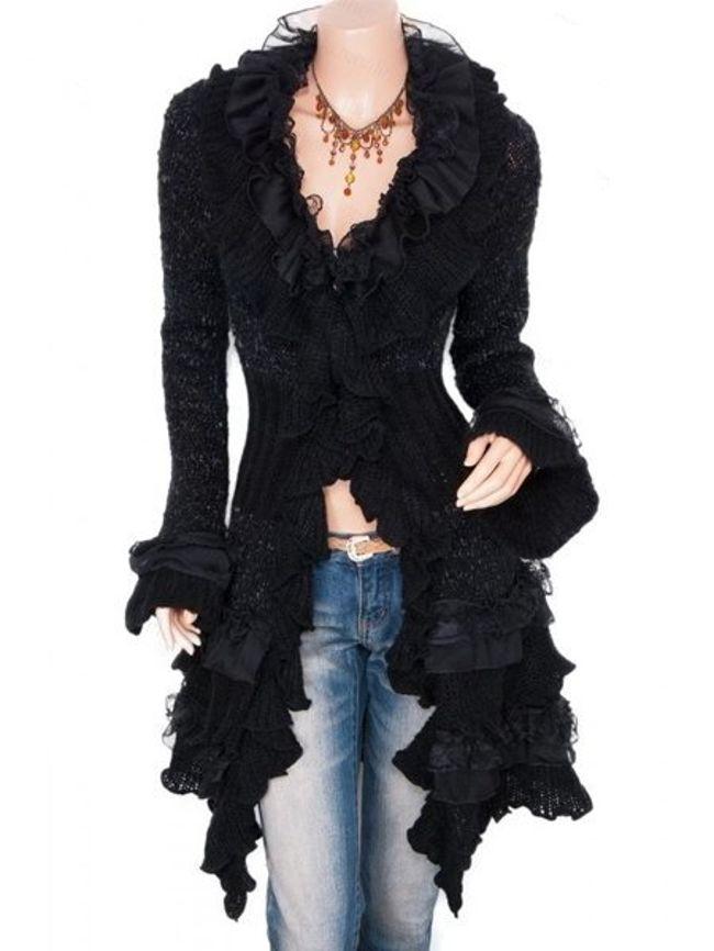 Fashionmia Plain Falbala Sweet Ruffled Cardigan