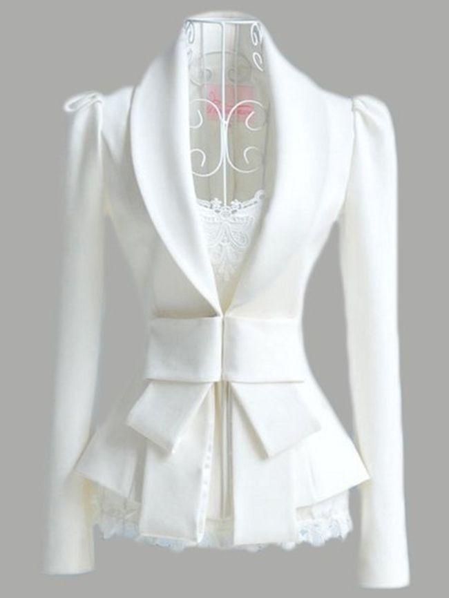 Fashionmia Plain Attractive Bowknot Lapel Blazer