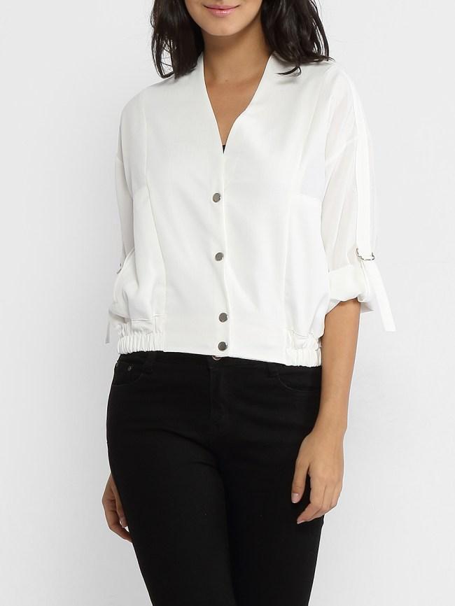 Fashionmia V Neck Single Breasted Slit Pocket Plain Roll-up Sleeve Jackets