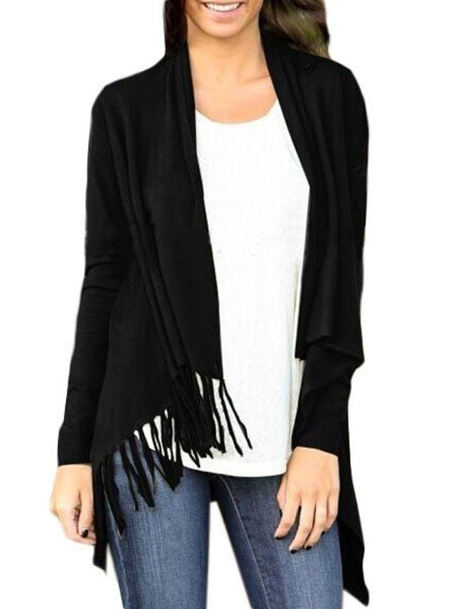 Fashionmia Plain Tassel Asymmetrical Hems Cardigan