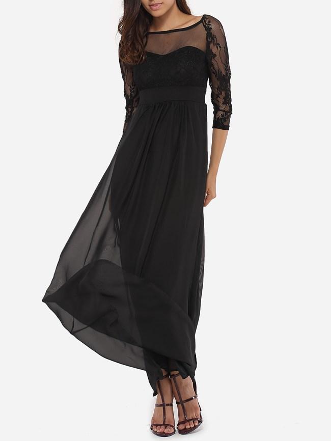 Fashionmia Round Neck See-Through Plain Evening Dress