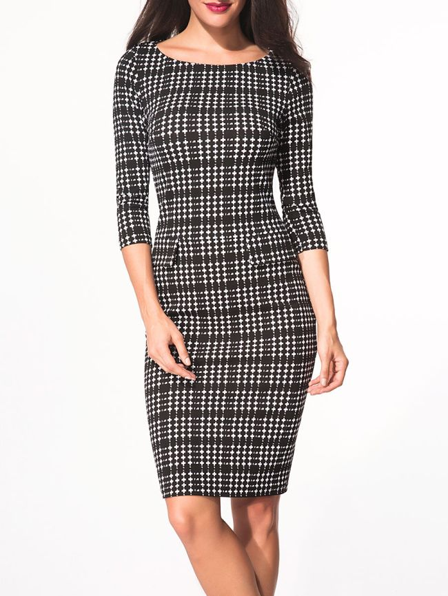 Fashionmia Boat Neck Flap Plaid Bodycon Dress
