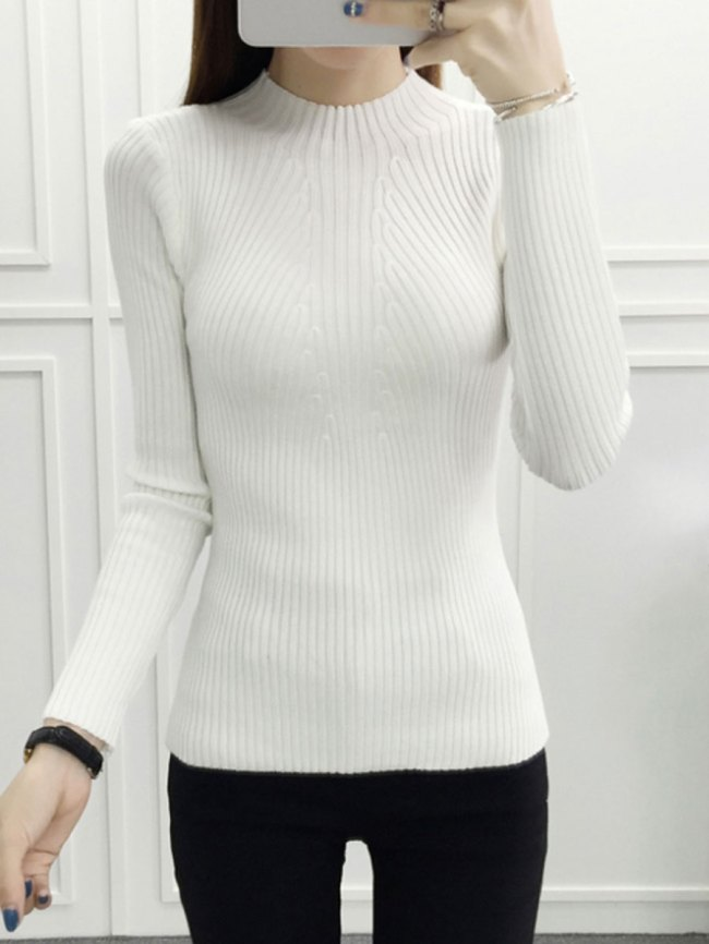 Fashionmia High Neck Striped Long Sleeve Sweaters Pullover
