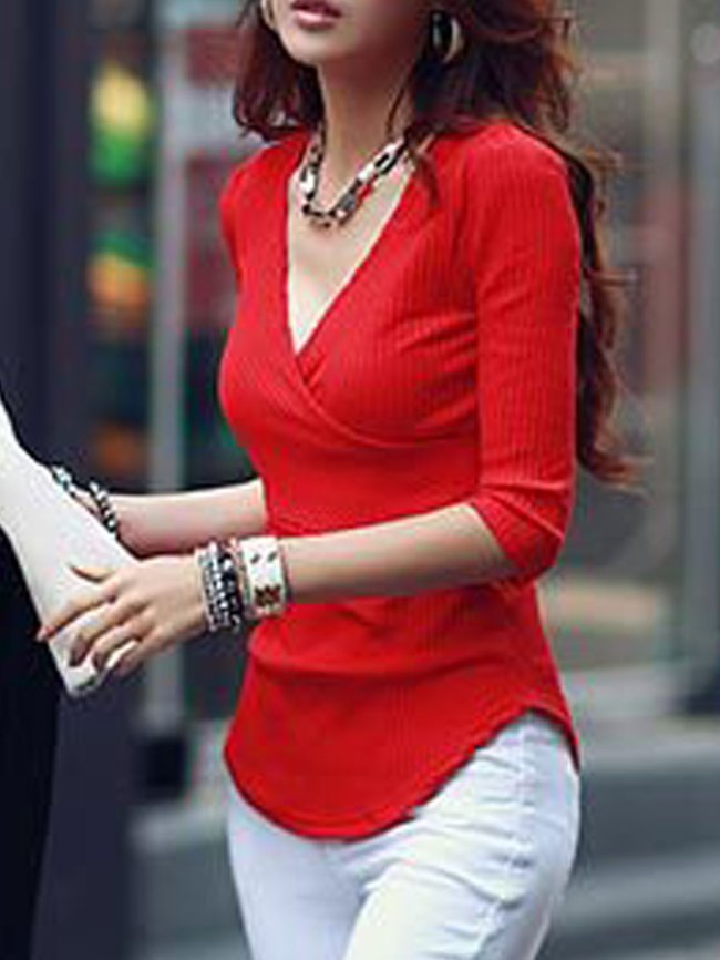 Fashionmia V-Neck Asymmetric Hem Plain Three-Quarter Sleeve Sweaters Pullover