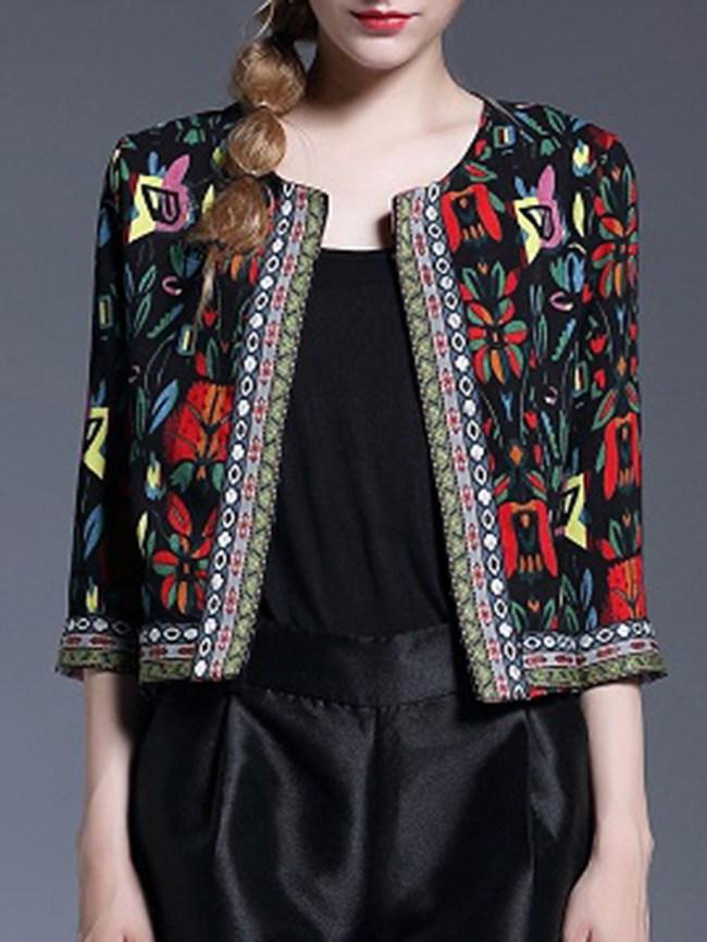 Fashionmia Collarless Abstract Print Bohemian Printed Three-Quarter Sleeve Blazers
