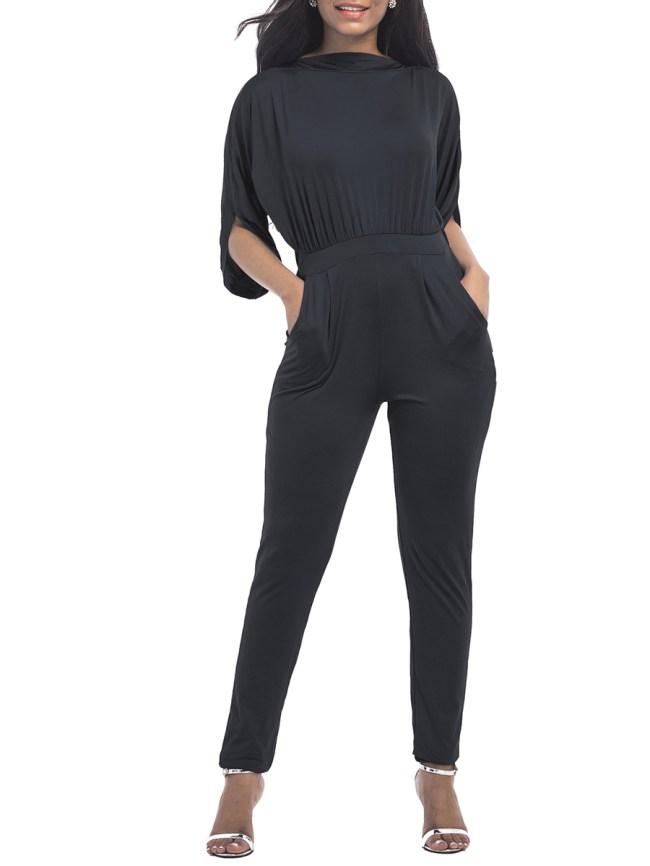 Fashionmia Half Sleeve Pocket Plain Slim-Leg Jumpsuit
