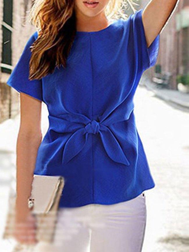 Fashionmia Round Neck Bowknot Plain Short Sleeve Shirts