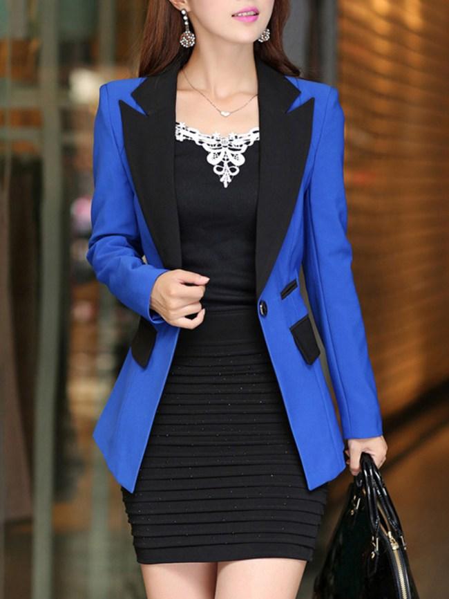 Fashionmia Notch Lapel Single Button Color Block Blazer