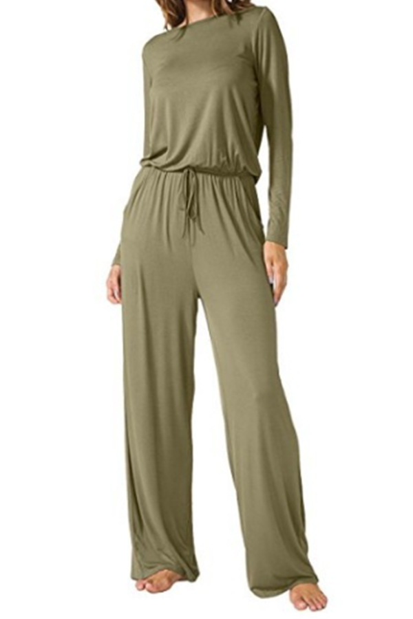 Fashionmia Crew Neck Back Hole Plain Rompers&Jumpsuits