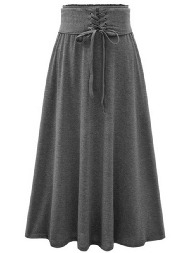 Fashionmia Plain Lace-Up Elastic Waist Flared Maxi Skirt