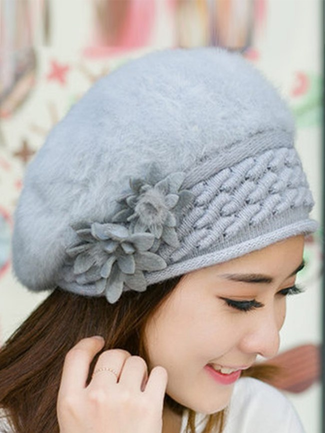 Fashionmia Lady Elegance Fashion Faux Fur Plain Floral Decoration Hats For Winter Women