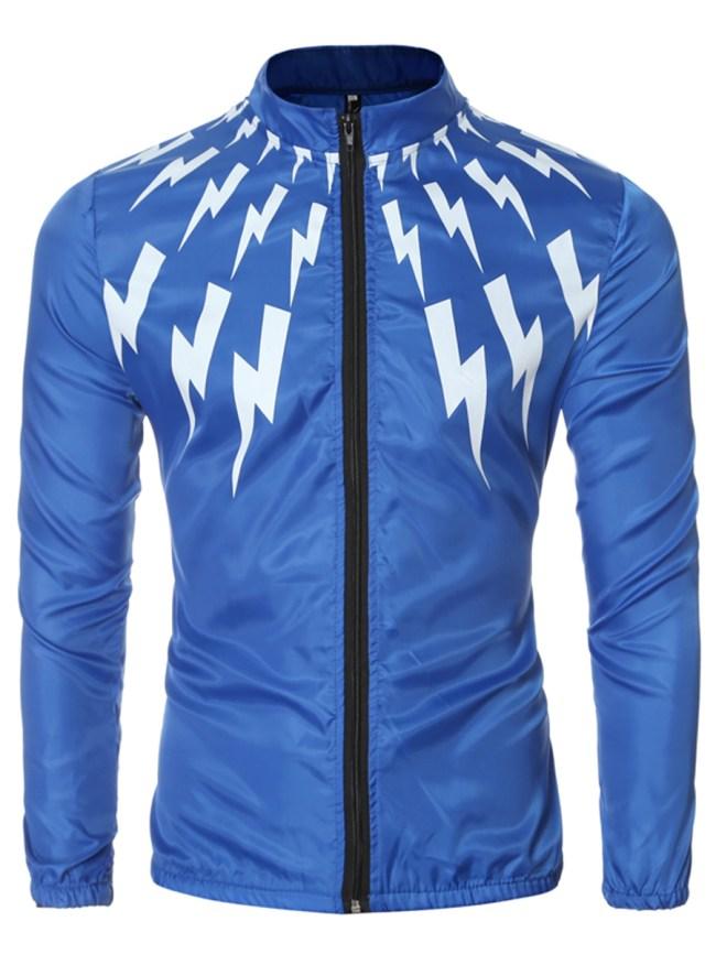 Fashionmia Band Collar Lightning Printed Men Jacket