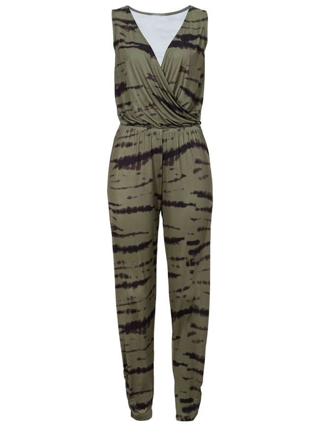 Fashionmia Hot Surplice Elastic Waist Printed Slim-Leg Jumpsuit