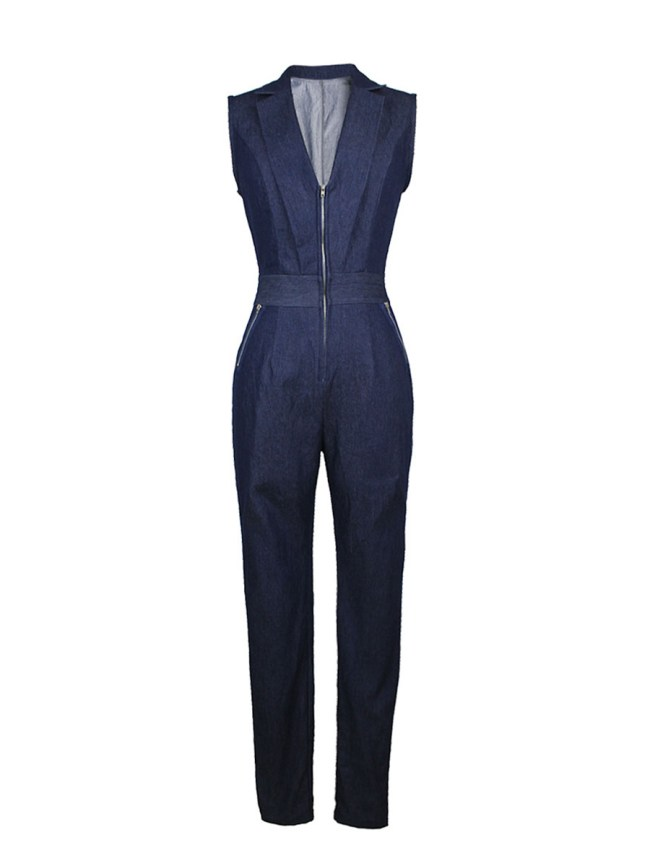 Fashionmia Lapel Deep V-Neck Zips Slim-Leg Denim Jumpsuit