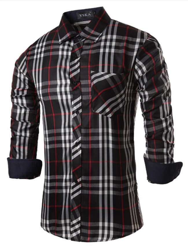 Fashionmia Fitted Check Patch Pocket Men Shirts