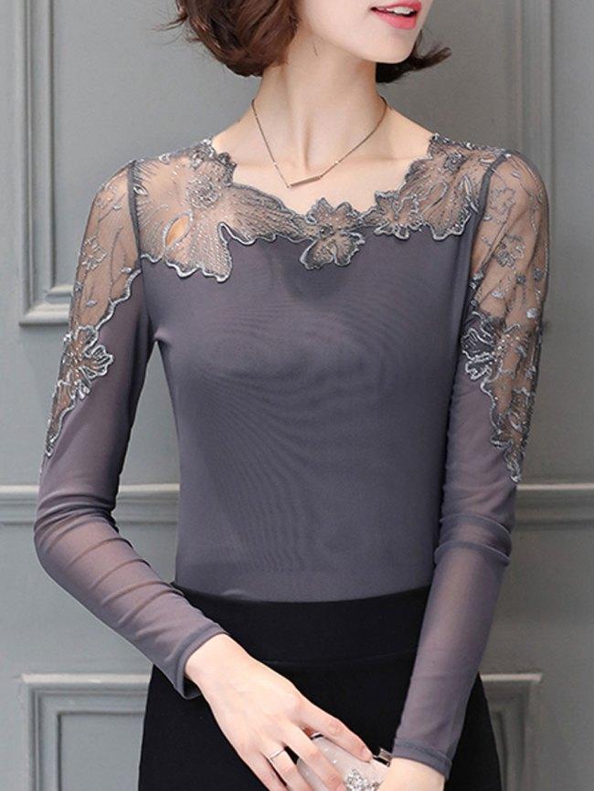 Fashionmia Asymmetric Neck Hollow Out Plain Long Sleeve T-Shirt