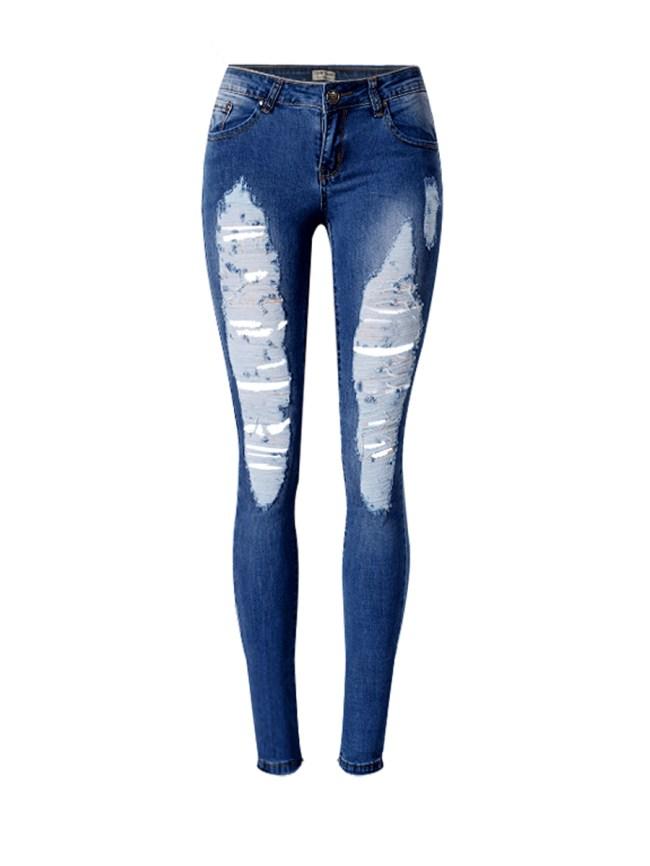 Fashionmia Patch Pocket Ripped Light Wash Slim-Leg Low-Rise Jean