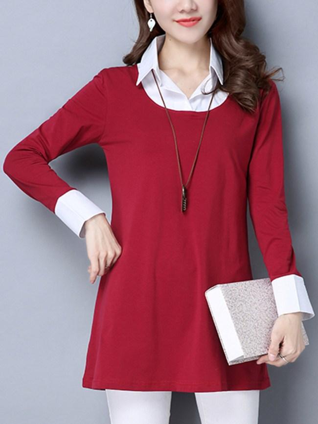 Fashionmia Concise Designed Turn Down Collar Color Block Plus Size Blouse