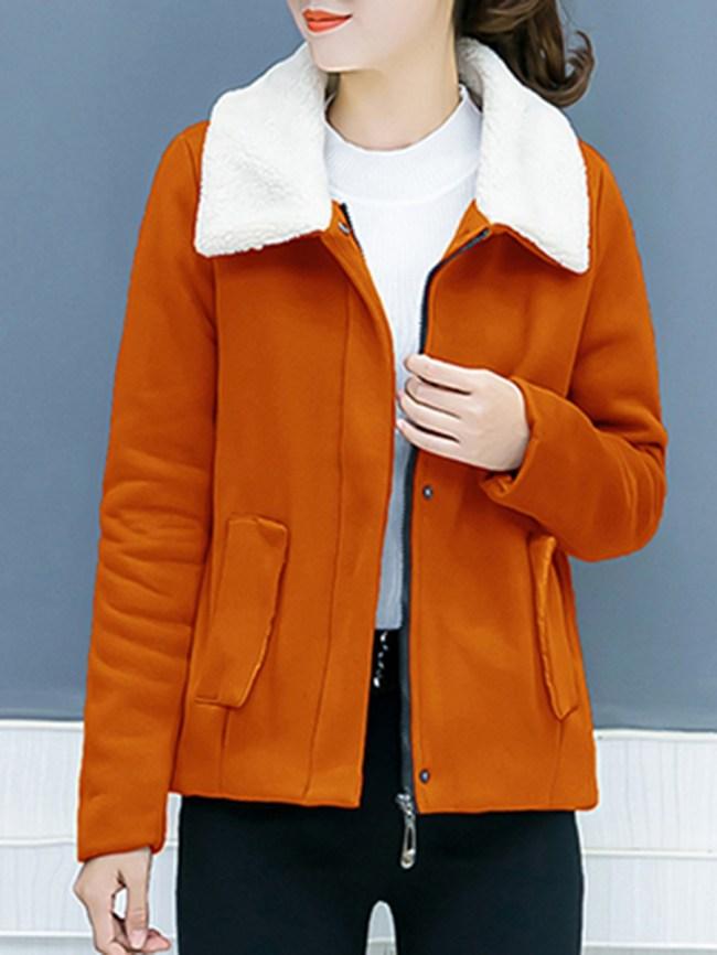 Fashionmia Lapel Fleece Lined Color Block Pocket Coat