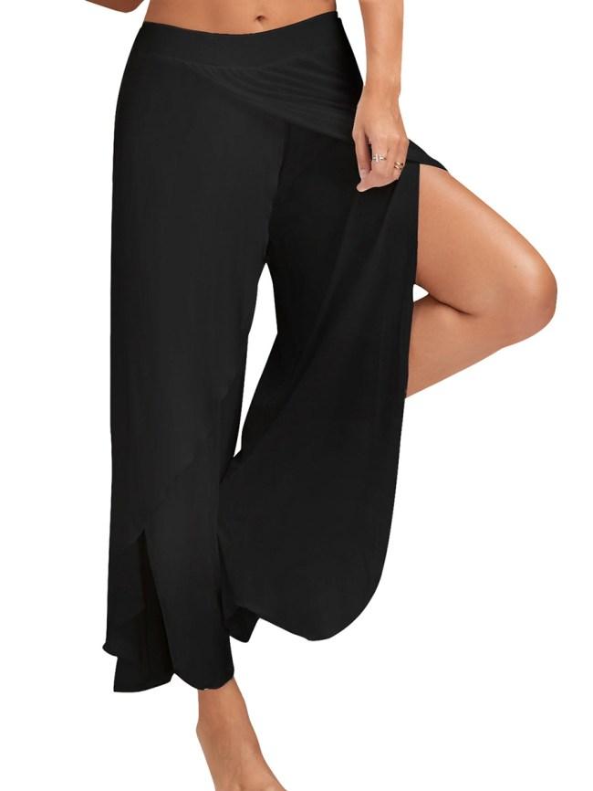 Fashionmia Solid Slit Wide-Leg Yoga Pants