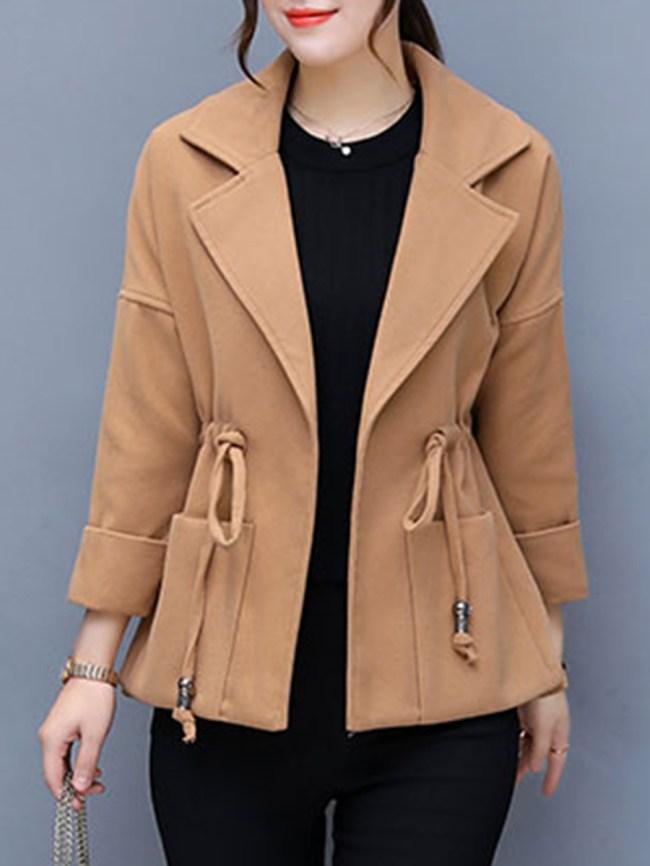Fashionmia Notch Lapel Drawstring Plain Coats