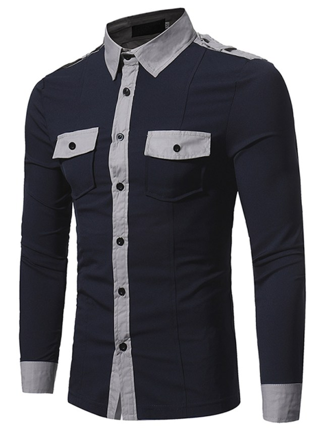 Fashionmia Color Block Flap Pocket Men Shirts