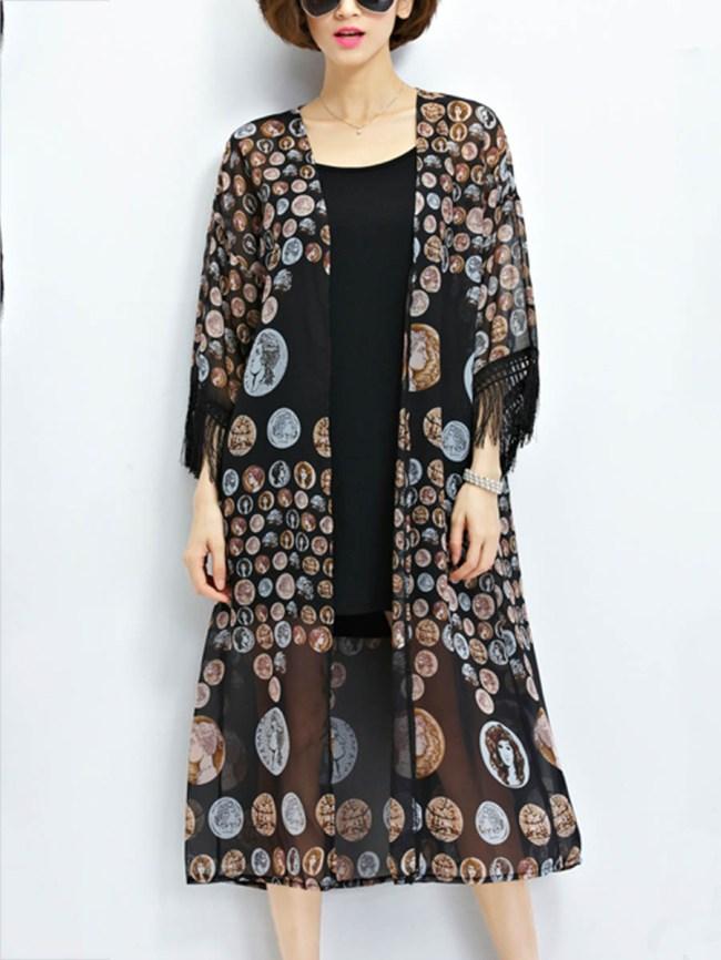 Fashionmia Fringe Bohemian Printed Kimono Sleeve Kimono