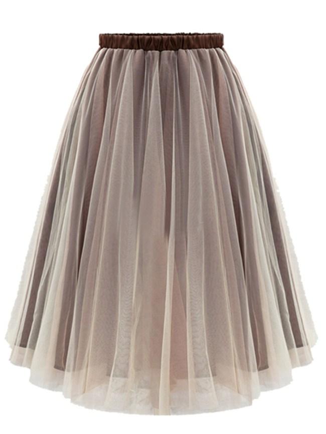 Fashionmia Elastic Waist Flared Midi Skirt
