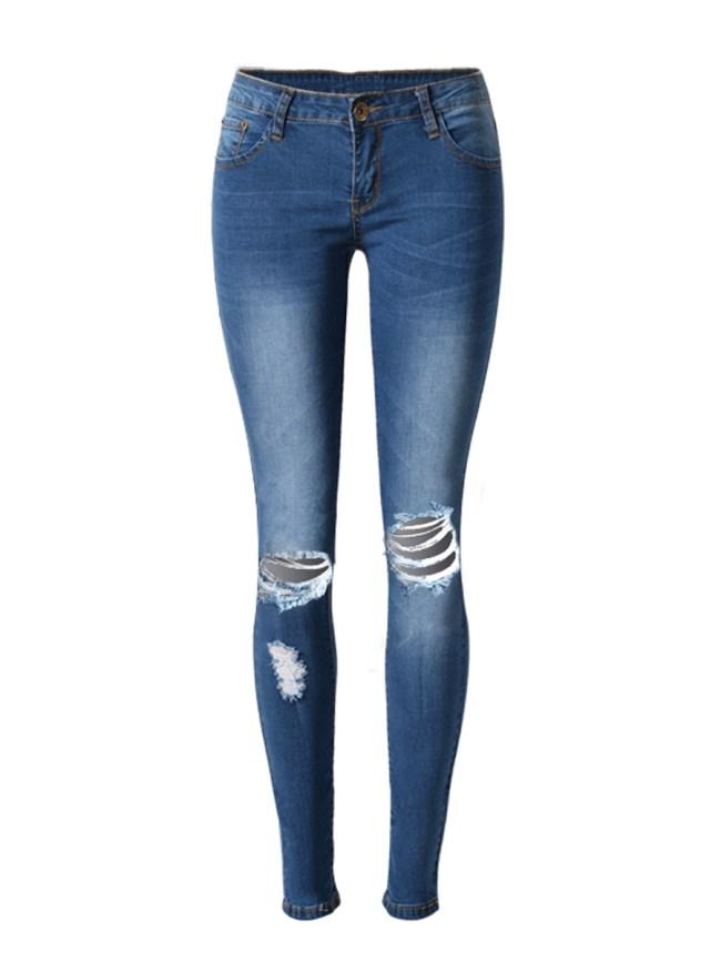 Fashionmia Ripped Light Wash Slim-Leg Mid-Rise Jeans