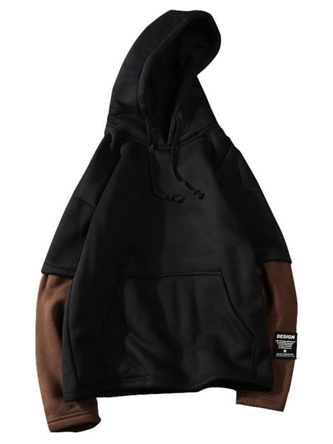 Fashionmia Men Color Block Kangaroo Pocket Hoodie