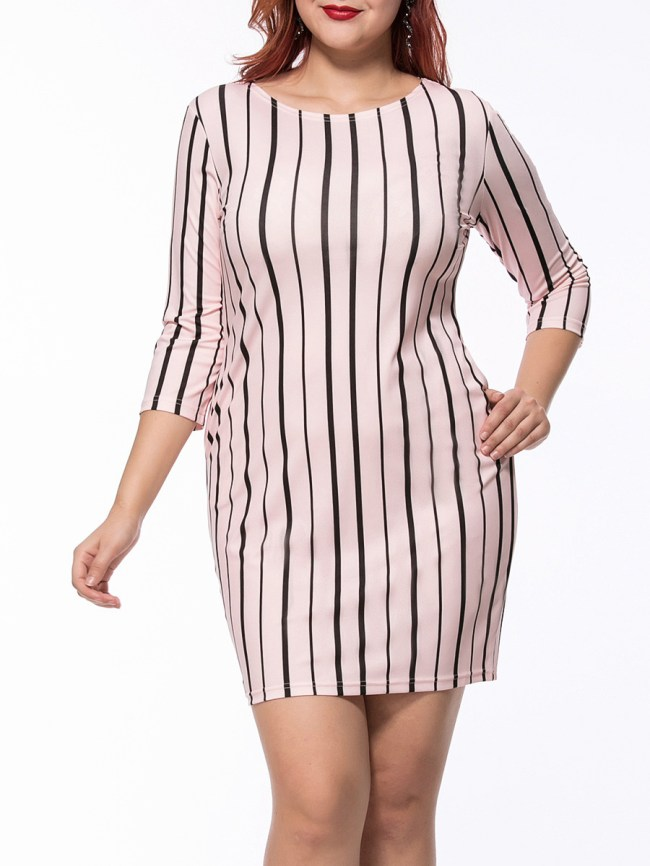 Fashionmia Vertical Striped Round Neck Pocket Plus Size Bodycon Dress