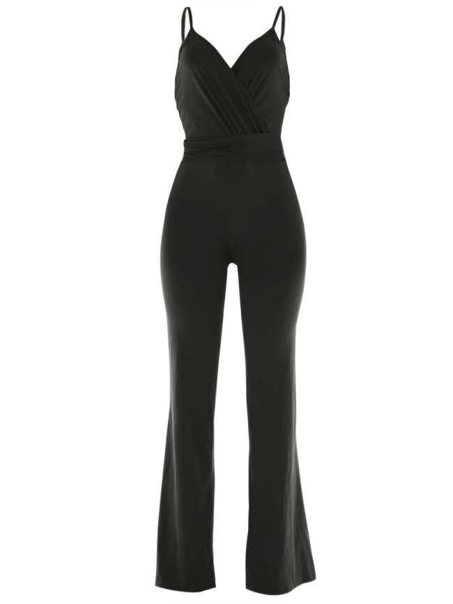 Fashionmia Spaghetti Strap Backless Plain Wide-Leg Jumpsuit