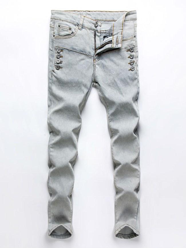 Fashionmia Stylish Patch Pocket Slim-Leg Men's Jeans