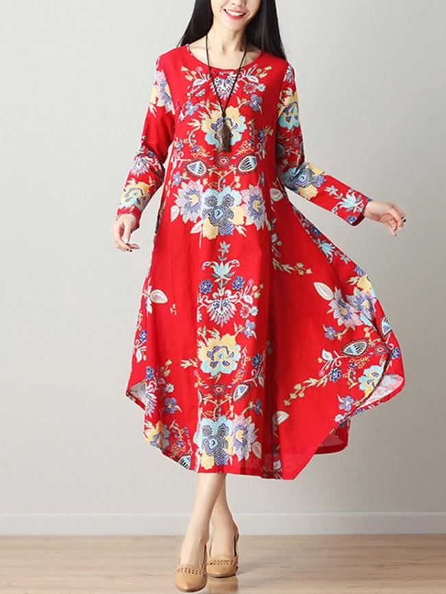Fashionmia Round Neck Asymmetric Hem Printed Cotton/Linen Maxi Dress