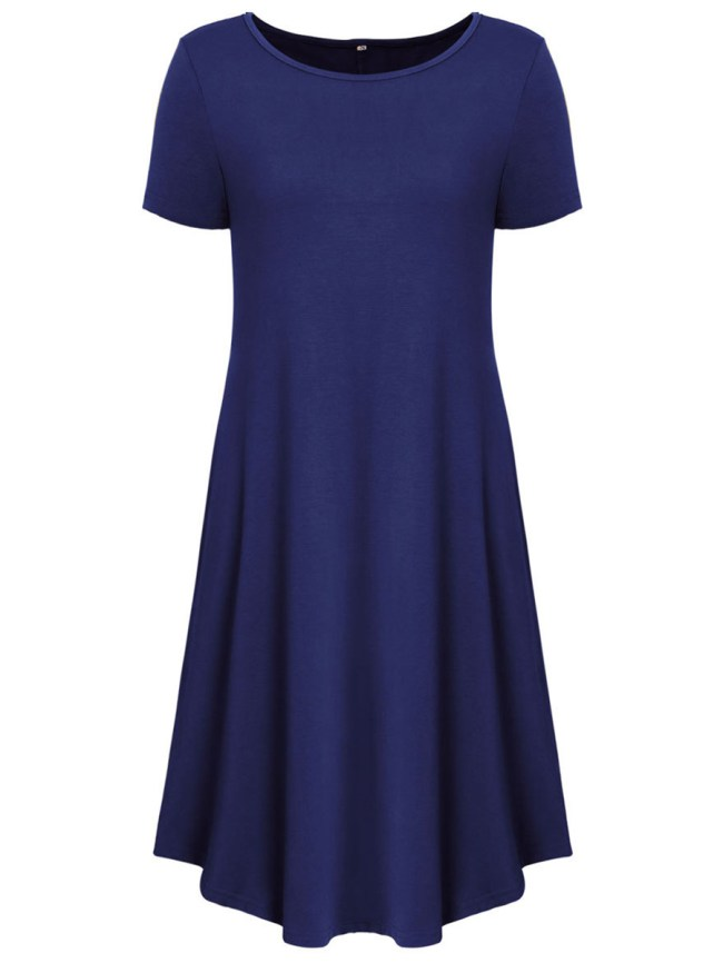 Fashionmia Basic Solid Round Neck Pocket Shift Dress