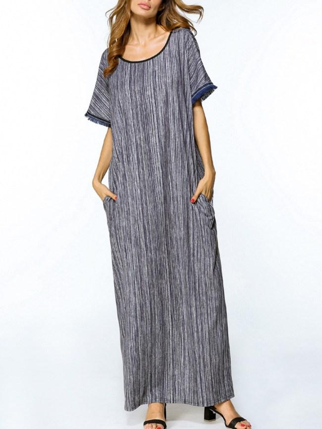 Fashionmia Loose Round Neck Pocket Printed Maxi Dress