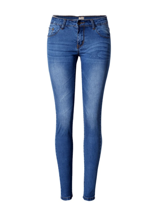 Fashionmia Light Wash Whiskered Slim-Leg Mid-Rise Jean
