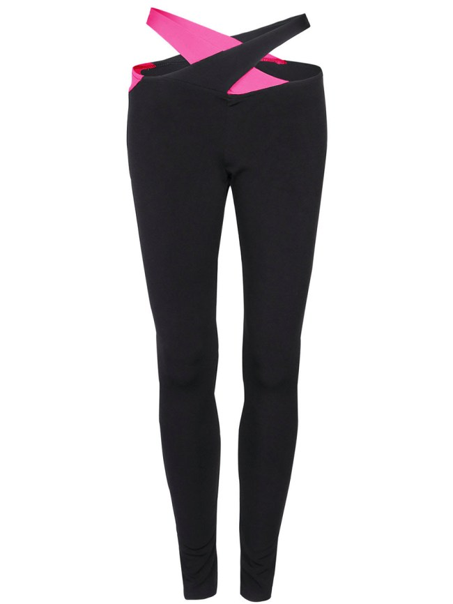 Fashionmia Cutout Color Block Low-Rise Legging