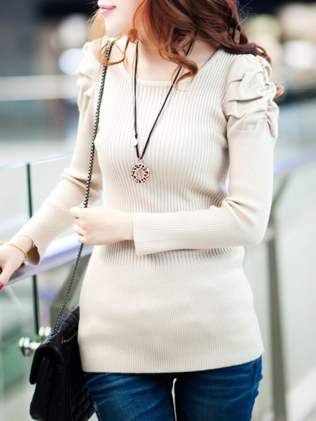 Fashionmia Round Neck Plain Bishop Sleeve Pullover