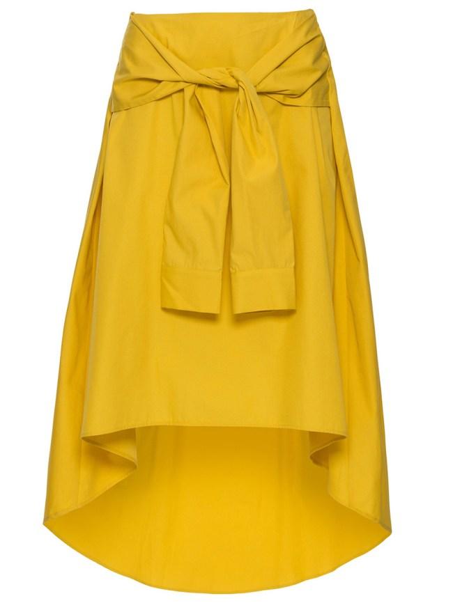 Fashionmia Tie-Front Plain High-Low Flared Midi Skirt
