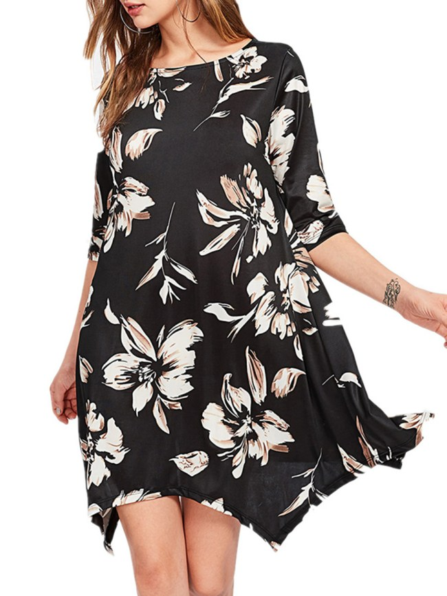 Fashionmia Round Neck Asymmetric Hem Floral Printed Shift Dress