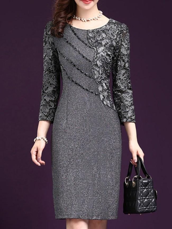 Fashionmia Round Neck Patchwork Plain Bodycon Dress